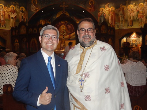 Father Konstantinos Pavlakos introduced Gary Aiken, Mason District Supervisor candidate, to Saint Katherine's congregation on Sunday. Members greeted Gary and enthusiastically welcomed his candidacy
