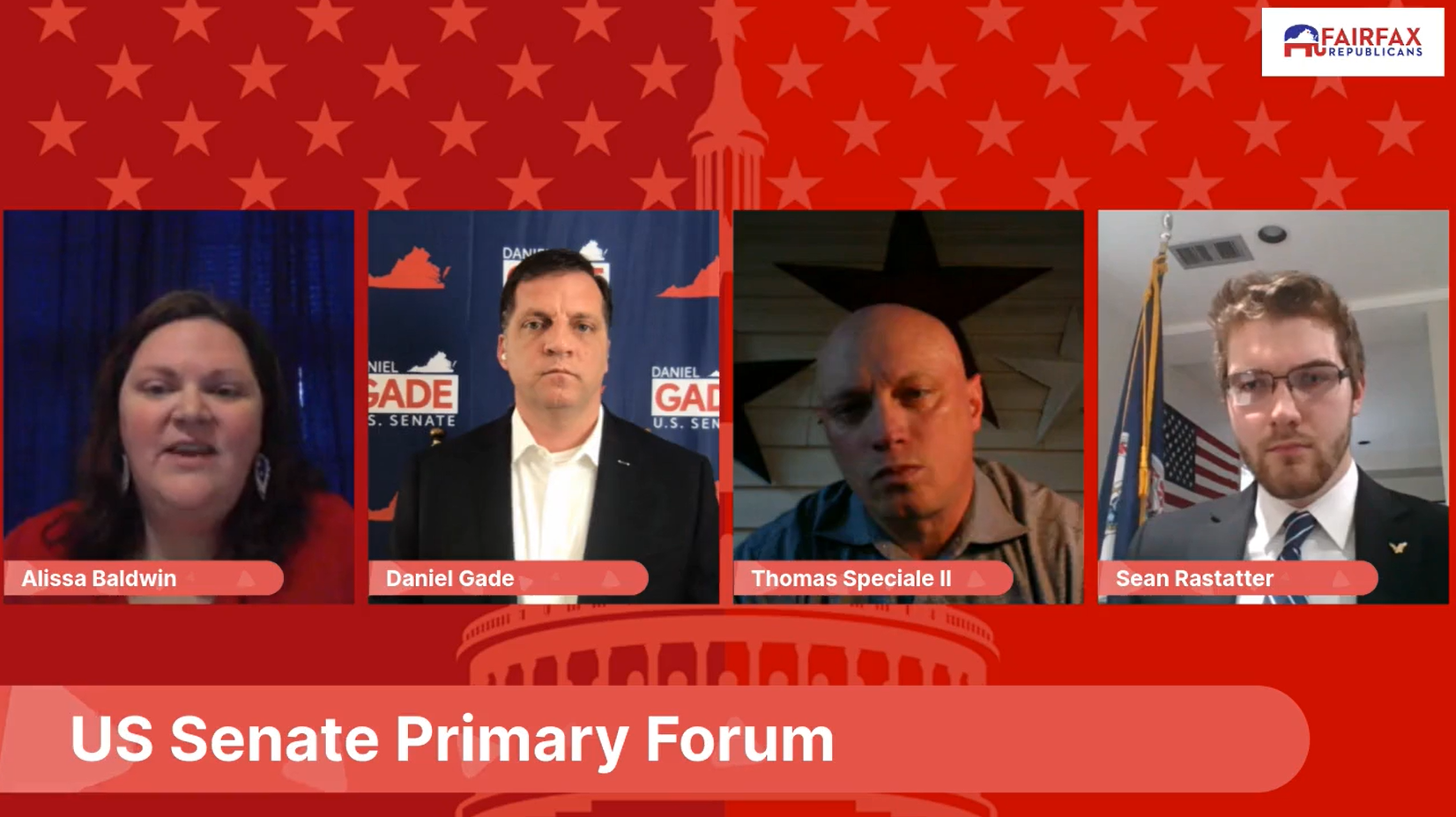 "The Fairfax GOP hosted a virtual, ""socially distant"" debate on Saturday, featuring all three candidates seeking the Republican nomination for U.S. Senate"