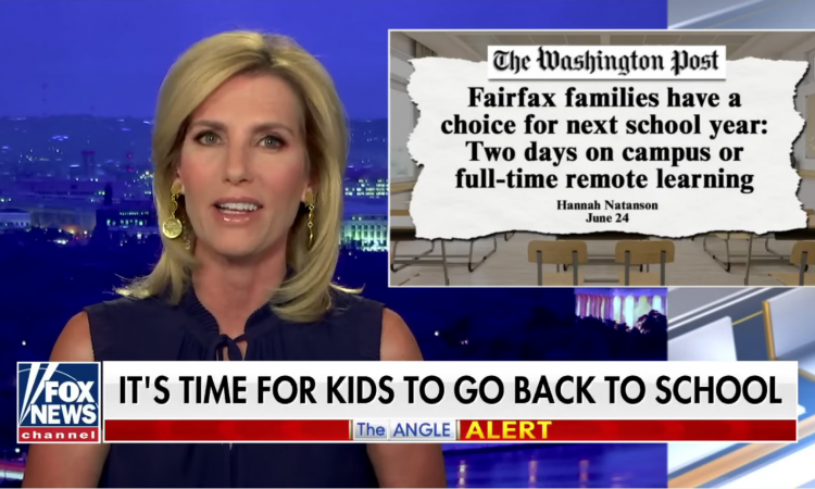 Fox News host Laura Ingraham blasted Fairfax County Public Schools on her nationally televised program Thursday night.