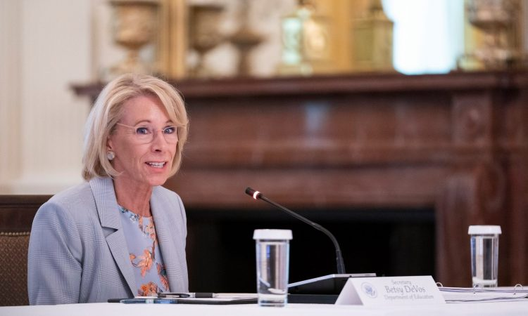 "U.S. Education Secretary Betsy DeVos slammed Fairfax County Public Schools (FCPS) on Tuesday. ""A choice of two days per week in the classroom is not a choice at all,"" DeVos said in a call with the nation"