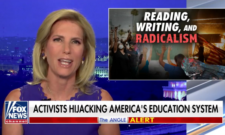 "During her nationally televised program Wednesday evening, Laura Ingraham again blasted Fairfax County Public Schools. ""Biden-supporting educrats are eager to work less, but also indoctrinate more,"" Ingraham said.