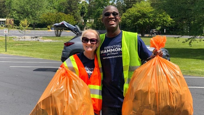 More than a dozen volunteers, from across the Lee/Mount Vernon area, gathered on Saturday, May 15 to remove litter alongside Franconia Road. Among them was Brenton Hammond, the GOP nominee for Virginia
