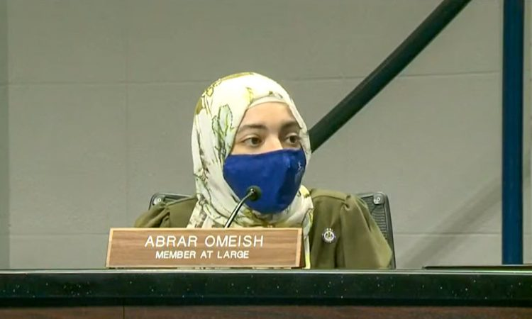 """In a recent interview with AJ+, embattled school board member Abrar Omeish """"doubled down"""" on her anti-Israel screeds, which many have characterized as hateful and needlessly divisive, if not deeply anti-Semitic, in nature. """"There is no chance I am resigning,"""" Omeish told AJ+, which is owned by Al Jazeera and funded by the government of Qatar.  Omeish created a firestorm of controversy by accusing Israel of """"apartheid"""" and """"colonization."""""""